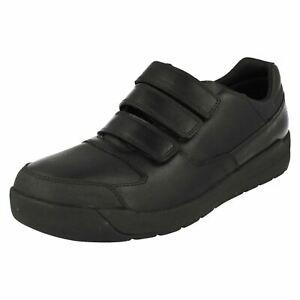 Clarks Monte Lite BL Triple Strap Black Leather School Shoes Size UK 8E