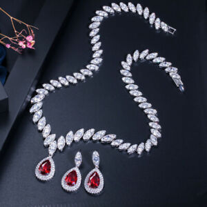 CWWZircons White Gold CZ Blue Crystal Necklace Earrings Bridal Jewelry Sets