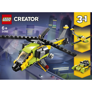Helicopter Toy Set LEGO Creator 3in1 Power Boat Glider Plane 114pc Age 6+ 31092
