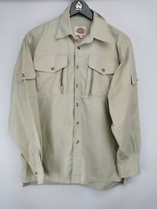 Dickies men's collared casual shirt long sleeve beige size M 003