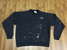 MENS XL - Vtg Carhartt Distressed Painted Jumper Sweatshirt Black