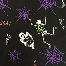 Halloween theme festive ghost spooky skeleton spider web cotton fabric 1/2 YARD