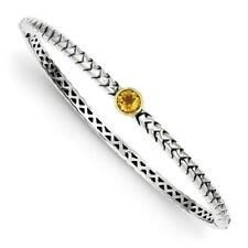 14k Yellow Gold Sterling Silver Citrine Bezel Halo Cable Bangle Bracelet Gift