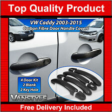 VW CADDY & MAXI REAL CARBON FIBRE 4 DOOR HANDLE COVER TRIM KIT SET NOT CHROME