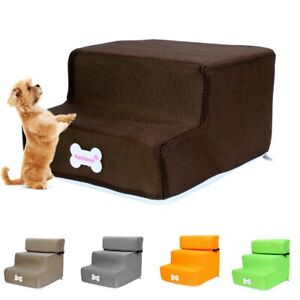 2/3 Steps Pet Dog Ladder Puppy Soft Stairs For Tall Bed Washable Cover Cat Ramps
