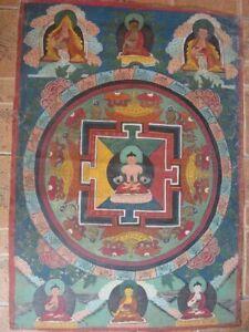 """Tibet Buddhism Hand Painted Thangka  """"Mandala of Amitayus  """""""
