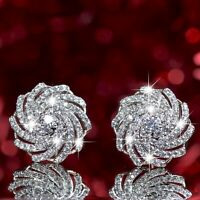 18k yellow white gold stud made with Swarovski crystal flower helix earrings