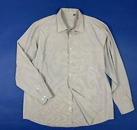 camicia casual uomo usato XXL tg 46 shirt man manica lunga grigio quadri T5747