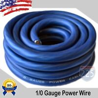 25Ft True 1/0 0 AWG Gauge Power Ground Wire Strand Cable 25' BLUE Ultra Flexible