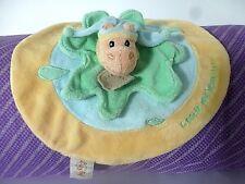 Doudou peluche plat de BabyNat hippopotame jaune vert bleu rond