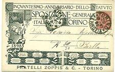 TORINO 1898 ESPOSIZIONE GENERALE ITALIANA F.lli Zoppis nero