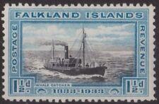 c255) Falkland Islands 1933. MM. SG 129 1 1/2d Black & blue. Ship. c£21+