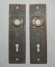 Pair Antique Cast Brass Eastlake Door Plates