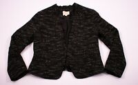 Womens Ann Taylor LOFT Black Tweed Open Front Blazer Jacket Size 10P Petite