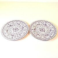 "MINTON SHALIMAR Set 2 Dinner Plates 10.75""D Blu Floral & Trim Bone China ENGLAND"
