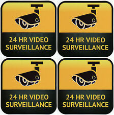 CCTV Camera Warning Stickers, Surveillance Vinyl Decal, Video Security Sign X4