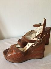 Terry De Havilland Wedge Platform 37 7 Brown Vintage Snakeskin Disco Glam Rare !