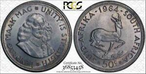 1964 SOUTH AFRICA 50 CENTS BU UNCIRCULATED PCGS MS63 COLOR TONED IN HIGH GRADE