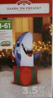 Airblown Inflatable 3.5 Ft Shark On Present Gift Christmas Gemmy