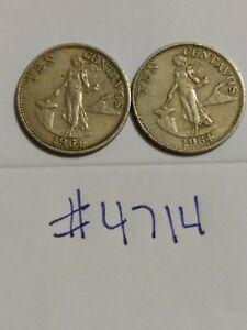 🇵🇭🇵🇭 (2) 1964 Philippines 10 Centavos Coins 🇵🇭🇵🇭