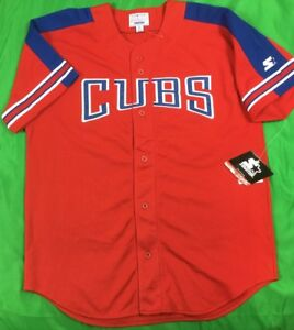 NWT'S VTG Starter Chicago Cubs MLB Jersey Men's SZ L Red & Blue Rare Blank