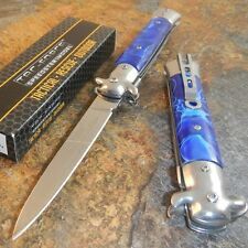 TAC-FORCE Spring Speed Assisted BLUE Swirl Milano Celluloid STILETTO Knife NEW!