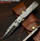 Louis Martin Handmade Damascus Steel Wootz Hunting Folding Knife Liner Lock