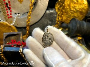 BOLIVIA 1 REAL 1656 FULL POTOSI 14KT BEZEL PENDANT TREASURE JEWELRY NECKLACE