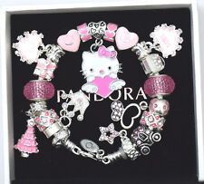 Authentic PANDORA 925 Silver Charm Bracelet and 7.1 Kids Euro Charms Hello Kitty