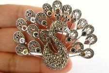 Peacock Marcasite Garnet Sapphire Citrine Peridot 925 Sterling Silver Pendant