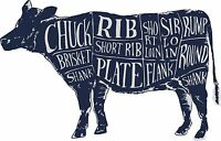 Cuts of meat wall art diagram wall sticker beef cow butchers decal anatomy
