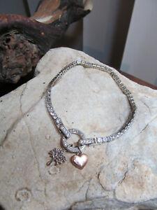 "IBB CN Silver Tone CZ Rhinestone MY FAMILY MY LOVE Heart Tree Bracelet  7 1/2"""