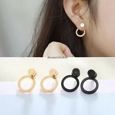 Korean Unique Women Simple Hoop Ear Studs Geometric Earrings Jewelry Nice Gift