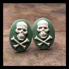 New Cufflinks Skull 💀 Crossbones Resin Cameo Silvertone Setting White Green G39
