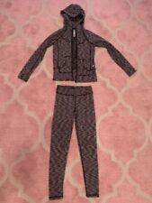 Girls sport/dance set (leggins & hoddies) 90 Degree M(10) black/white good cond