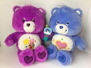 "2 Care Bears Blue Daydream Bear & Purple Surprise Bear 13"" Plush Stuffed Animals"