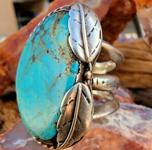 GIANT Navajo Hand Stamped  Bisbee Turquoise Ring Sz:11 sterling silver