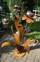 Edelrost Blume mit Edelstahlkugeln 3 blütig mit Kugeln 120cm