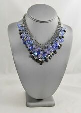 VINTAGE HIGH END GLASS CRYSTAL RHINESTONE LAVA BEAD SHADES OF BLUE BIB NECKLACE
