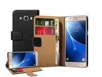 Samsung Galaxy J5 Duos (2016) Wallet BLACK Leather Case Cover + 2 protectors