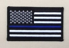 Blue Line Subdued Black & White American USA US Flag Patch Iron Sew On Military