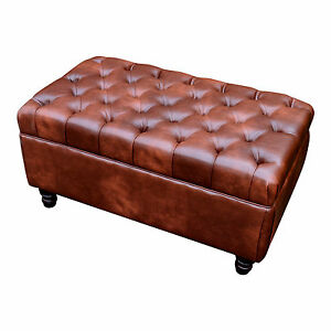 High Seat Chesterfield style Coffee Table Seat Stool In Chestnut Faux Leather