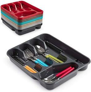 Cutlery Organiser 5 Compartment Plastic Holder Tray Drawer folk spoon blue Grey