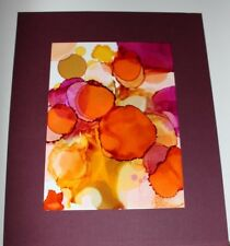 """Fruit"" -Alcohol Ink Painting  5""X7"" - 8""X10"" Pro Beveled Mat"