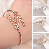 8648 Hand Chain Bangle Simple Open Leaf Shape Gifts Beauty Anti Allergy Jewelry