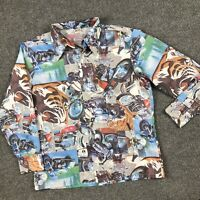 Montgomery Ward Vintage 70s All Over Print Button Down Shirt L Motorcycle Tiger