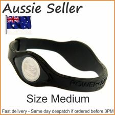 1 X Medium Power Balance Silicone Wristband Size - 19cm Black Fast Del