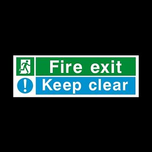 FIRE EXIT KEEP CLEAR 300x100mm RIGID PLASTIC SIGN - EMERGENCY EXIT