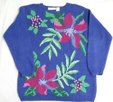 Liz Claiborne Womens Oversize Sweater Periwinkle Hand Knit Flowers Berries Small