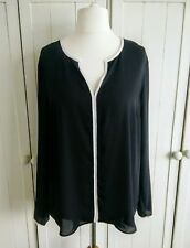 Atmosphere Black with White Piping Blouse Top Size 18